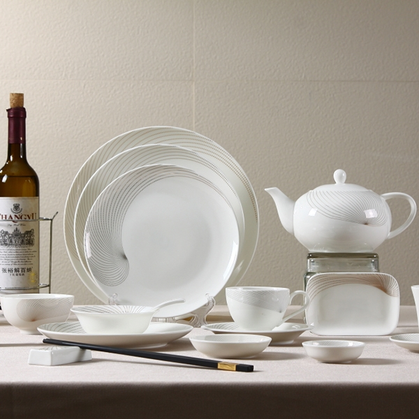 Dinnerware With Golden Rim For Hotel And Restaurant