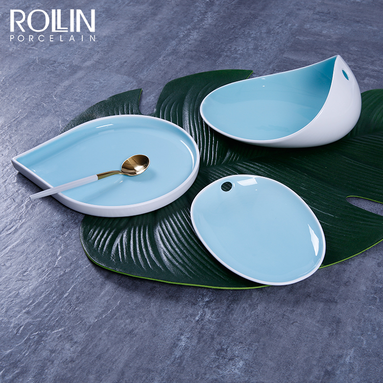 2020 New Design New Bone China Color Plates for Restaurant